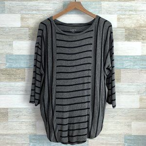 LOFT Multi Striped Dolman Top Black Gray